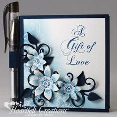 Blue Sunflowers Note And Pen Holder   Kathy Roney