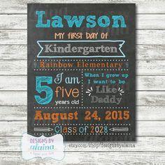 Boy 1st Day of School Chalkboard Sign Poster, personalized, printable digital file. Aqua Orange. Kindergarten. by DesignsByAlaina