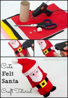 Christmas craft tutorial for a cute felt Santa toilet paper roll craft. Santa Crafts, Christmas Crafts For Kids, Simple Christmas, Christmas And New Year, Christmas Ideas, Christmas 2019, Holiday Ideas, Christmas Decorations, Easy Felt Crafts