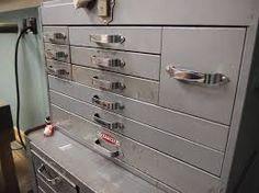 Image result for 1950's Mechanics Toolbox Mechanic Tool Box, Vintage Tools, Cool Tools, Door Handles, Dresser, Toolbox, Furniture, Cabinets, Garage