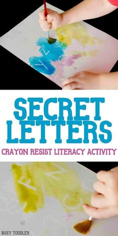 Secret Letters Activity: an awesome crayon resist literacy activity that's so much fun! A quick and easy indoor activity for toddlers and preschoolers; alphabet activity