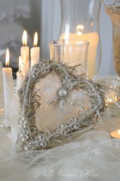 Pretty heart and candlelight