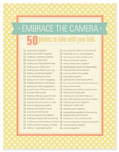 50 photos to take with your kids #Printable #Checklists