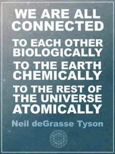 Expand into the Cosmos:: We are all connected to each other biologically to the earth chemically to the rest of the universe atomically #NeildeGrasseTyson