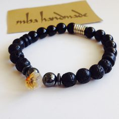 MEN'S NATURAL GEMSTONE CITRINE POINT HEMATITE ONYX LAVA ROCK BEADED BRACELET #MBAHandmade #Beaded