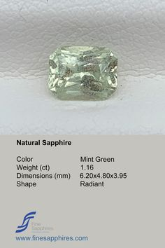Green sapphire has gain lot of popularity during recent times and it is amongst one of the most requested stones. Color Mint Green Origin Madagascar Weight 1.16Ct Dimensions 6.20x4.80x3.95mm Shape Radiant Enhancement None FS038 Sapphire Color, Green Sapphire, Natural Sapphire, Madagascar, Mint Green, Gain, Engagement Rings, Shape, Gemstones