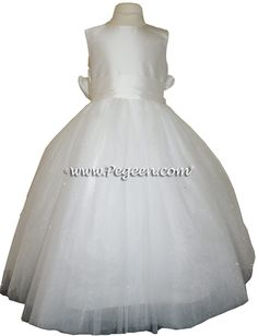 Flower Girl Dresses with a Signature Bustle and Dew Drop Tulle ballerina style Cheap Flower Girl Dresses, Girls Dresses, Formal Dresses, Wedding Dresses, White Tulle, White Silk, Cotillion Dresses, Communion Dresses, Custom Dresses