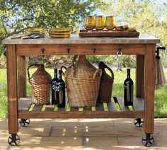 trendy kitchen island on wheels diy pottery barn Outdoor Island, Outdoor Tables, Outdoor Decor, Outdoor Living, Outdoor Serving Cart, Outdoor Bar Cart, Rustic Outdoor Bar, Indoor Outdoor, Rustic Outdoor Kitchens