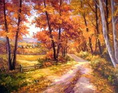 how to html color codes for text Autumn Painting, Autumn Art, Beautiful Paintings, Beautiful Landscapes, Landscape Art, Landscape Paintings, Watercolor Paintings, Art Et Nature, Dream Pictures