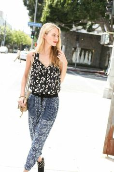 Poppy Delevingne in the Bobcat Print Tank and Starflower Print pant, in LA Poppy Delevingne, Printed Pants, Print Tank, Celebs, Celebrities, Rebecca Taylor, Poppies, Harem Pants, Style Me