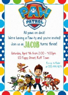 Custom Made Paw Patrol Birthday Invitation Paw por MyBabiesBreath