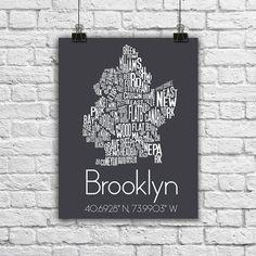 Brooklyn Typography Neighborhood Map New York Longitude Latitude City Black