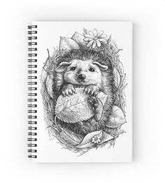 Spiral notebook with little hedgehog drawing. More products available. Black and white, nature, leaves, hedgehog, cute little hedgehog, flowers, natural, animal, little animal, kids
