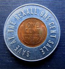 Vintage SAVE AT THE REXALL ONE CENT SALE - ENCASED LUCKY WHEAT PENNY