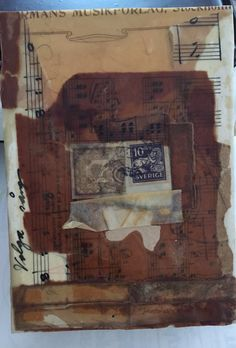 Encaustic collage from vintage papers I bought in Sweden