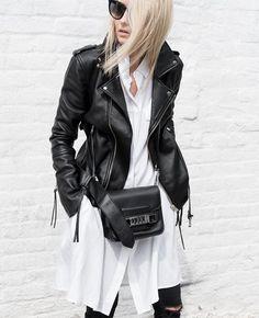 biker jacket | proenza schouler bag |