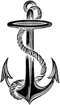 DIY: Best Vintage Anchor Image -  Vintage Anchors are so hot right now and I think this is the best one that I've ever had on my blog!  This offering was scanned from a Circa 1908 Design Book! This is a black and white image of a bold, almost Silhouette like, Anchor Graphic with a Rope wrapped around it.  Great for your Steampunk, Nautical, or Hipster Projects!