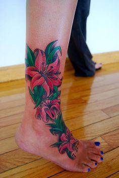 Petunia flower tattoo cover-up floral tattoo weird tattoos, foot tattoos, pretty tattoos