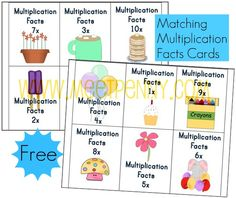 free multiplication facts cards printable