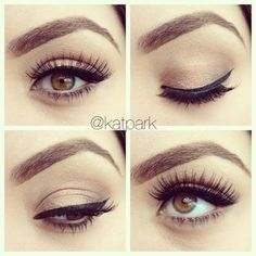 A neutral eyeshadow look that can manage to make all eye colors appear more vibrant and bright. It gives the sultry illusion of mystery, but isn't as harsh as a smokey eye. - I'm just in love with natural eyes. Simple Eye Makeup, Natural Eye Makeup, Natural Eyes, Natural Beauty Tips, Sleek Makeup, Dark Makeup, Gorgeous Makeup, Pretty Makeup, Love Makeup