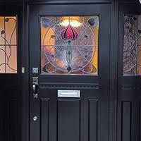 Welcome visitors to your home with a spectacular Art Nouveau door! This bespoke front door features ornate stained glass panels. Find out Wooden Front Doors, Glass Front Door, 1940s Home, 1930s, Art And Craft Design, Cottage Exterior, Stained Glass Panels, My Glass, Old English