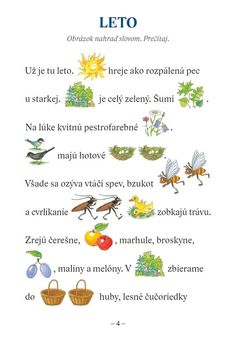 Maľované čítanie Mravček Zvedavček a iné príbehy ... Summer Activities For Kids, Primary School, Kids Education, In Kindergarten, Summer Time, Art For Kids, Diy And Crafts, Preschool, Teaching