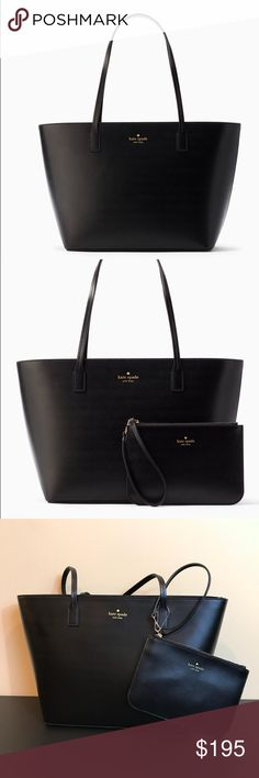 "Kate Spade Small Harmony Bennet Place Black Bag Kate Spade Small Harmony Bennet Place Black Bag. This bag comes with a 51/2""X8"" wristlet. Zip top, very roomy. He inside features a zip pocket and two small pockets. The bag itself measures approximately 10"" long and approximately 16"" wise on the top and 12"" wide on the bottom. The Strap is approximately 9"" long Authentic, brand new with tags. kate spade Bags Totes"