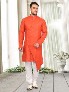 Plain Orange Cotton Pathani Suit, plain, orange color, mens pathani, mens kurta