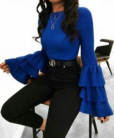 Ribbed Trumpet-Sleeve Sweater black high rise jeans with a royal blue blouse. Visit Daily Dress Me a Black Women Fashion, Look Fashion, Autumn Fashion, Feminine Fashion, Blue Fashion, Winter Fashion Women, Fashion Boots, Fashion Beauty, High Fashion Outfits