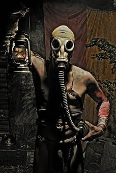 Why does everyone assume that gas masks are going to help? I am pretty sure that even if the gas mask worked, it wouldn't matter if the rest of your exposed skin (yes, you, bikini girl with the gas mask!) would defeat the purpose. Mad Max, Gas Mask Art, Masks Art, Gas Masks, Steampunk, Apocalypse, Cyberpunk, Zombies, Post Apocalyptic Fashion