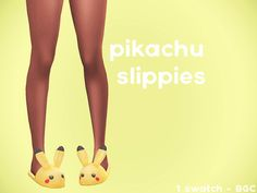 The Sims 4 maxis match cc shoe pikachu slippers by gloomfish