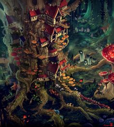 Fantasy Forest, Fantasy City, Fantasy World, Art And Illustration, Art Illustrations, Fantasy Art Landscapes, Fantasy Landscape, Fantasy Concept Art, Fantasy Artwork