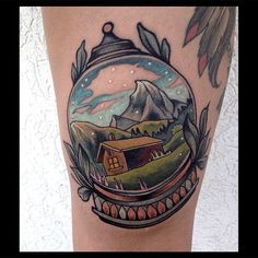 snowglobe mountains & cabin - germantattooers's photo on Instagram