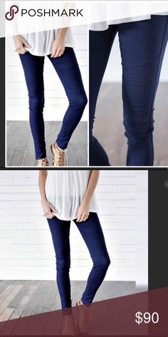 Navy Moto Jeggings Navy blue jeggings now available!!! Super cute ! Super fun to change up from regular jeans or leggings. Has gold zipper on bottom. No pockets Jeans Ankle & Cropped
