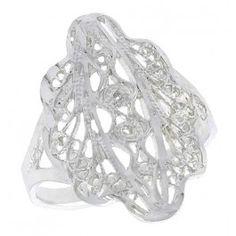 Sterling Silver Fancy Filigree Ring, 3/4 inch.