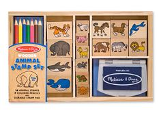 Animal Stamp Set and thousands more of the very best toys at Fat Brain Toys. Add these great stamps to your home art kit, then add animals from around the world to art work, scrapbooks, homework, lunch sacks, book covers, anything that needs a bit of pizzazz! Color in the non-toxic, washable ink once it's dry, then draw your own scenes and backgrounds for extra fun! The animals come from the farm, home pets, ocean, and even the African savanna!