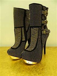 dominatrix gold boot heel