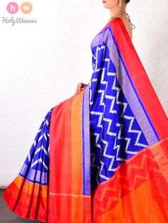 #Blue #Katan #Silk #Pochampally #Handwoven #Saree #HolyWeaves