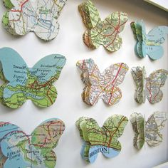 Our Travels Custom Vintage Map Butterfly Art door TerrorDome