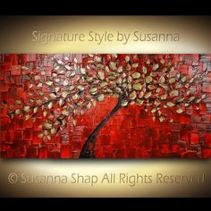 Abstract Gold Red Tree Painting