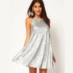 Shiny Silver Sequin Dresses Sleeveless Short Silver Glitter Cute Dress Luxury Women Paillette Dress for Party Evening