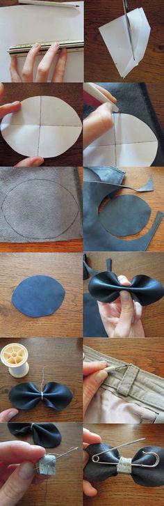 Une broche réalisée avec des chutes de cuir