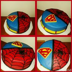 Superman and spiderman cake
