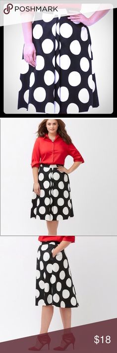 Lane Bryant Black/White Polka Dot Skirt - Size 14 Black and white oversized polka dot skirt with front box pleat. A-line silhouette. Cotton/Poly/Spandex blend. Comfort stretch. Machine washable. Smoke free home.  EUC Lane Bryant Skirts A-Line or Full