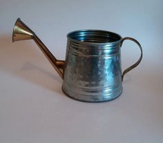 Rustic Watering Can   Tin and Brass Vintage Watering Can by SamsOldiesButGoodies on Etsy