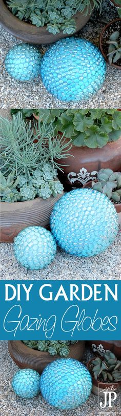 #DIY gazing ball or gazing globe for the garden using a smoothfoam ball and pebbles from the dollar store. So easy!