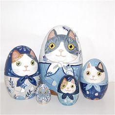 【楽天市場】原千恵子「ネコリョーシカ」15センチ5個組 たまご型 【マトリョーシカ】:RUINOK2 ルイノク2