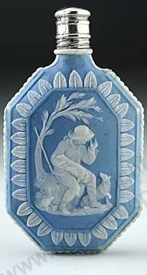 RARE ANTIQUE & VINTAGE SCENT PERFUME BOTTLES: c.1800 WEDGWOOD BLUE JASPER SCENT PERFUME BOTTLE, SILVER TOP. To visit my website click here: http://www.richardhoppe.co.uk or for help or information email us here: info@richardhoppe.co.uk