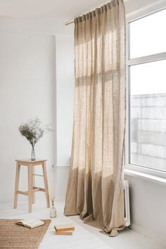 Grey Linen Curtains, Long Curtains, Window Drapes, Panel Curtains, Curtains With Clips, Minimalist Curtains, Scandinavian Curtains, Design Ikea, Natural Curtains