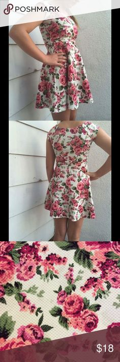 """Wet Seal Floral Dress So pretty I cannot stand it!! Floral textured polyester dress from Wet Seal. Cream base with pink flowers and green leaves. The model is a size 4, she says it is tight in the chest, so this would be perfect for petite small chested ladies. Size juniors small. LAYING FLAT MEASUREMENTS: waist 12"""" bust 16"""" length 31"""" Wet Seal Dresses Mini"""